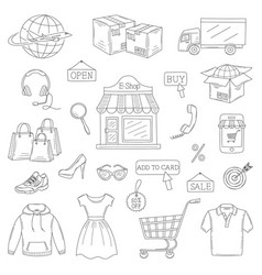 set hand drawn online shopping icons vector image