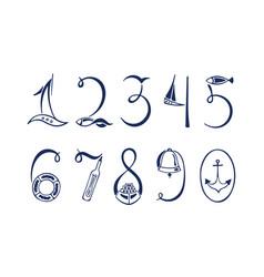Set marine numerals hand drawn vector