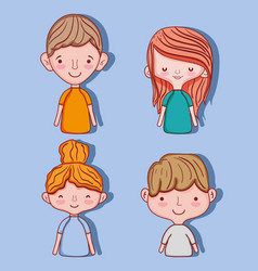 set of cute kids cartoons vector image
