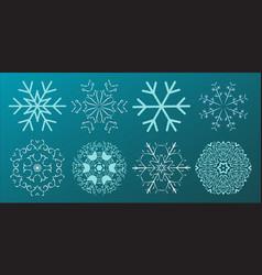 set of snowflakes christmas design vector image