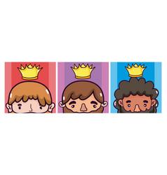 set ok cute kings cartoons vector image