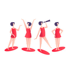 set woman character poses in red modern style vector image