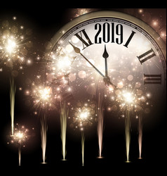 shiny 2019 new year background with clock and vector image