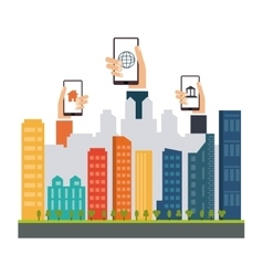 Smart city design Social media icon Technology vector