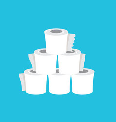 stack toilet paper isolated on blue background vector image