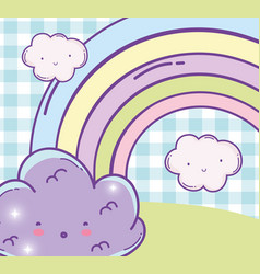 surprised fluffy cloud and beauty rainbow vector image