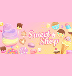 sweet shop welcome banner vector image