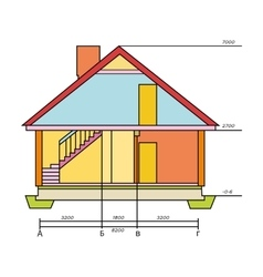 Technical drawing of house icon in cartoon style vector image