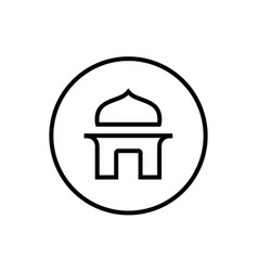 thin line mosque or mushola logo icon vector image