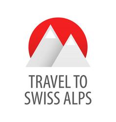 travel to swiss alps - badge vector image