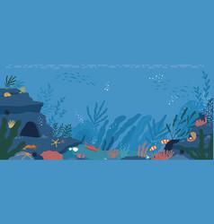 Underwater life at sea or ocean bottom exotic vector