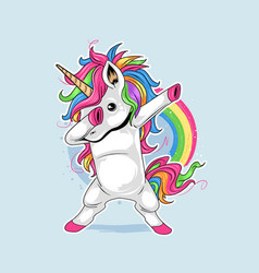unicorn cute full colour dabbing artwork vector image