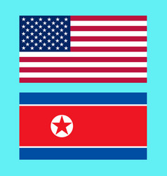 usa and north korea flags vector image