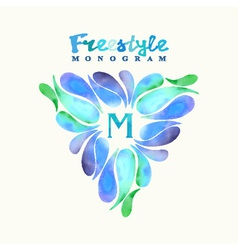 Vintage inspired watercolor freestyle monogram vector image