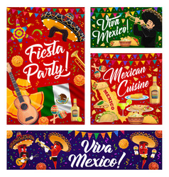 viva mexico banners with mexican sombrero and food vector image
