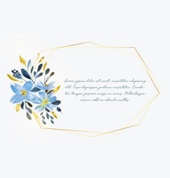 watercolor flower with golden frame and text space vector image