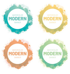Watercolor set banner modern art design vector