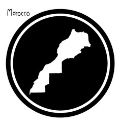 white map of morocco on black circle vector image