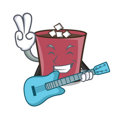 with guitar hot chocolate mascot cartoon vector image