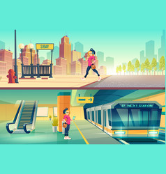 Woman at metro station metropolitan platform vector