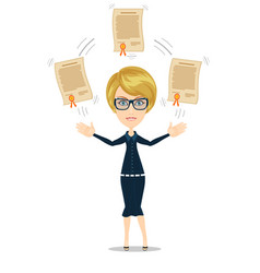 Woman proudly standing and showing a diploma vector