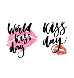 World kissing day lettering in lips template for vector