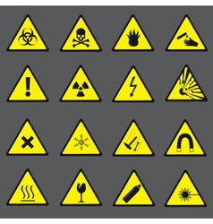yellow and black danger and warning signs set vector image