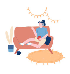 young woman sitting on couch with cup tea or vector image