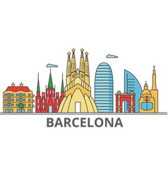 barcelona city skyline buildings streets vector image