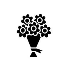 bouquet of flowers icon sig vector image