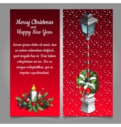 Christmas street lamp on a red background vector image vector image