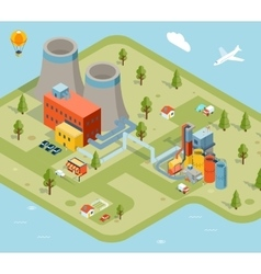 flat 3d isometric factory vector image