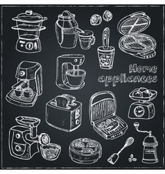 Home appliances themed doodle set vector image vector image