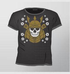 skull t-shirt design template vector image vector image