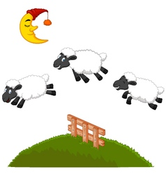 Three Funny Sheep Jumping Over A Fence vector image