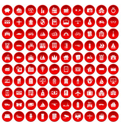 100 property icons set red vector image vector image