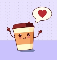Cartoon comic coffee paper cup vector image