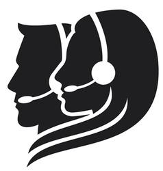headset symbol - center icon vector image