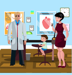 mom and son in doctor s office vector image vector image