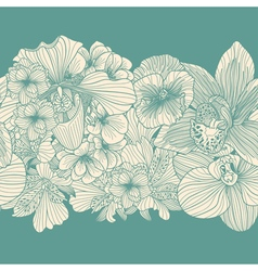 vintage flowers border vector image vector image