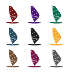 windsurf board icon in black style isolated on vector image