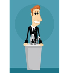 Cartoon office worker in a podium vector image