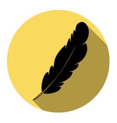 feather sign flat black icon vector image