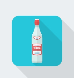 flat style vodka bottle icon with shadow vector image vector image
