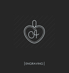 pendant with engraving outline icon isolated vector image
