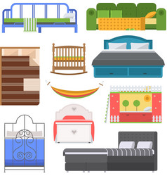 Sleeping furniture set vector image vector image