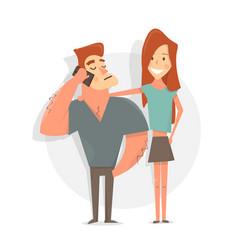 young sports man and woman cartoon character vector image vector image