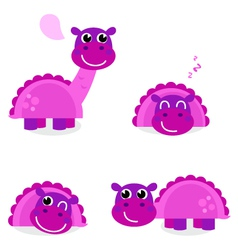 Cute pink dinosaur set isolated on white vector image vector image