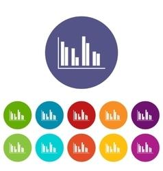 Financial analysis chart set icons vector image vector image