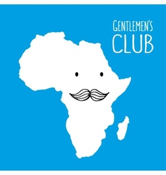 Fun moustache club cartoon Africa hand drawn map vector image vector image